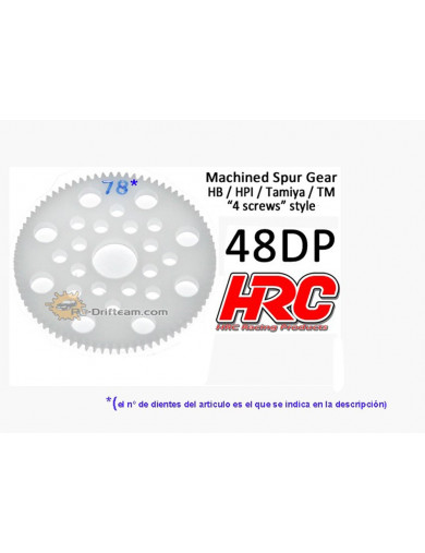 Corona Delrin 75T, Pitch 48dp para Coches Rc (HRC74875P). Spur Gear Low Friction HRC 74875P Piñones y Coronas RC