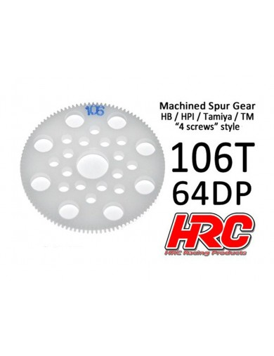 Corona Delrin 106T, Pitch 64dp para Coches Rc (HRC764106P). Spur Gear Low Friction HRC 764106P Piñones y Coronas RC
