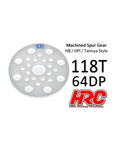 Corona Delrin 118T, Pitch 64dp para Coches Rc (HRC764118P). Spur Gear Low Friction HRC 764118P Piñones y Coronas RC