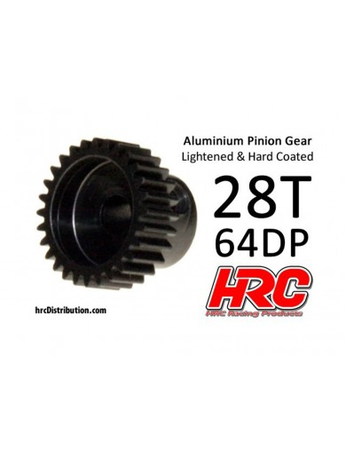 Piñon 28T, Pitch 64 para Coches Rc (HRC 76428AL). Pinion Gear Steel - Light HRC 76428AL Piñones y Coronas RC