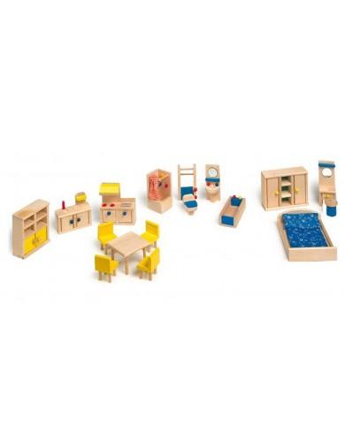 Muebles Para Casa de Muñecas, Madera y Tela (A) LEG 7218 Muñecos y Peluches