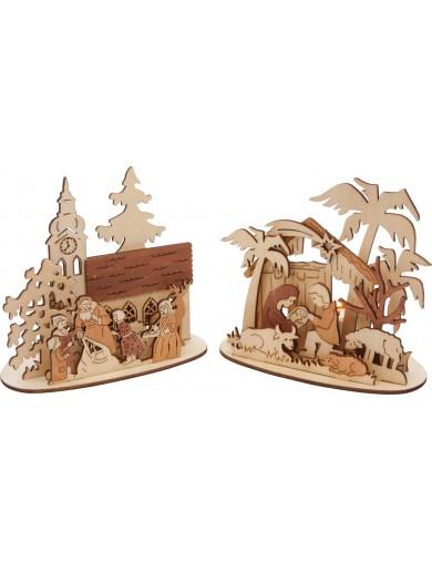 "Portavelas Navideño, set de 2. Adornos Navideños. Christmas Decorations. Tealight Holder ""Xmas Scene"" LEG 6872 Artículos Navi..."
