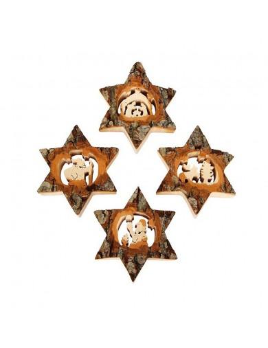 Colgantes de Madera, Estrellas de Navidad. Adornos Navideños. Christmas Decorations LEG 3554 Artículos Navideños