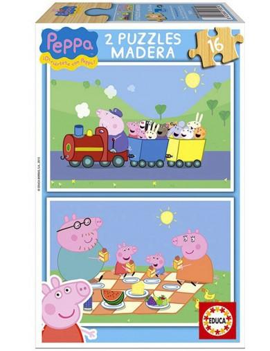 2 Puzzles Peppa Pig Madera. Educa 3 a 4 Años 16 piezas PS 240586 Puzzles y Rompecabezas