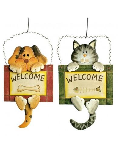 """Juego de Colgantes """"Welcome"""", Perro y Gato LEG 1854 Decoración Interior y Regalos"""