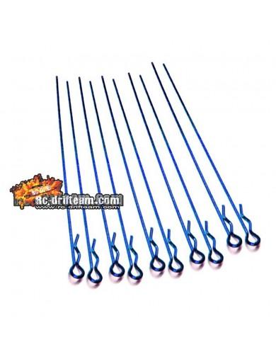 CLIPS Carrocería LARGOS para Coches RC 1/10, AZUL, Long Body Clips, 10 uds HRC2070BL Accesorios Carrocerias RC