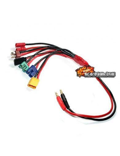 Cable Multiple para Cargador, con Conector Banana a EC3/ XT60/ MPX/ CT4/ Dean T/ Futaba JR, Charger Cable HRC9124 Conectores,...