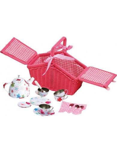 Cesta de Picnic de mimbre, 18 piezas. Toy Picnic Basket LEGLER 9980 Cocinitas y Tiendas Juguete
