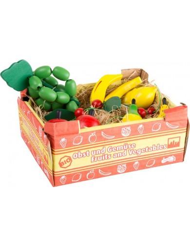 Caja de frutas de juguete, 11 piezas. Box with Fruits. food toys LEGLER 1646 Cocinitas y Tiendas Juguete