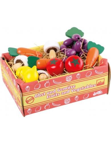 Caja de vegetales de juguete, 11 piezas. Box with Vegetables, food toys LEGLER 1756 Cocinitas y Tiendas Juguete