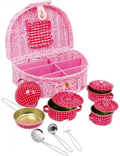 """Cesta de Picnic """"Emily"""" 13 piezas. Toy Picnic Basket LEGLER 5304 Cocinitas y Tiendas Juguete"""