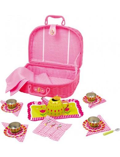 """Cesta de Picnic """"Flower"""" 24 piezas. Toy Picnic Basket LEGLER 5305 Cocinitas y Tiendas Juguete"""
