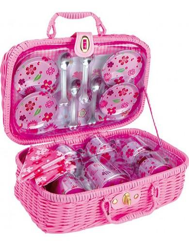 Cesta de Picnic Florecitas, 21 piezas. Toy Picnic Basket LEGLER 5316 Cocinitas y Tiendas Juguete