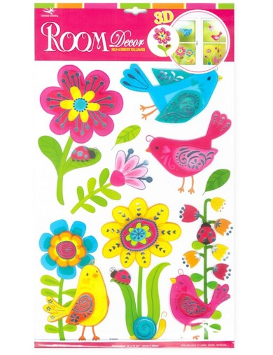 Vinilos infantiles Pájaros y Flores. Art Decals Kids Wall Stickers Mural LEGLER 4087 Vinilos Decorativos, Stickers
