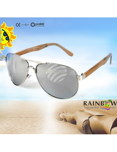 Gafas de Sol Aviator PLATA con Funda. Retro Vintage Sunglasses VIPER UV400 SILVER
