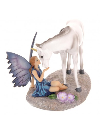 Figura Hada besando Unicornio, Tales of Avalon Lisa Parker Unicorns kiss Fairy. Faeries Figurines FYP100 Figuras de Hadas Mág...