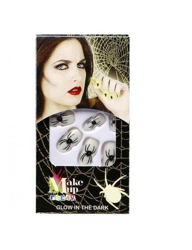Uñas Postizas con arañas. Halloween, Carnaval. nails with spidersAccesorios Disfraces y Maquillajes