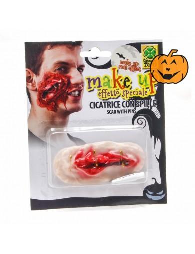 Cicatriz Mejilla con Imperdibles, Halloween, Carnaval. Scars CheekAccesorios Disfraces y Maquillajes