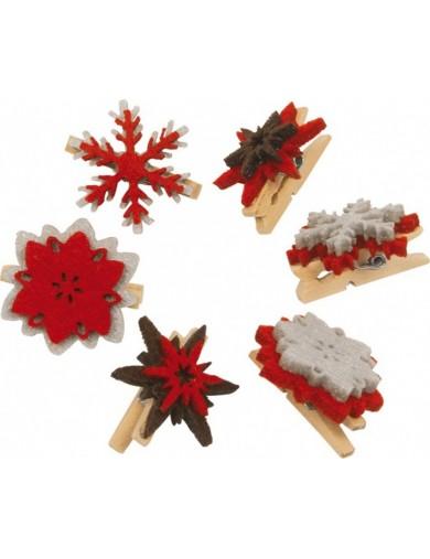 Set de 6 Pinzas Navideñas decorativas. Adornos Navideños. Decoración Pegs Christmas Accessories LEG 6172 Artículos Navideños