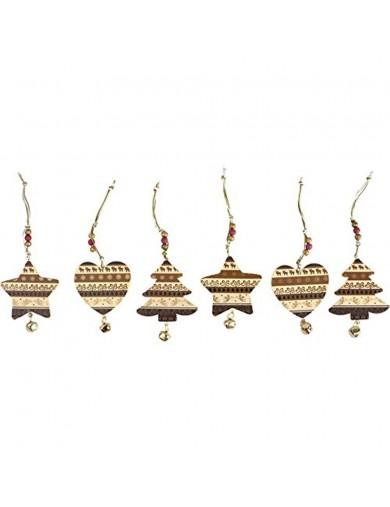 Adornos Navideños, Colgantes de madera con campanas. Decoration Hanger with Bell LEG 6174 Artículos Navideños
