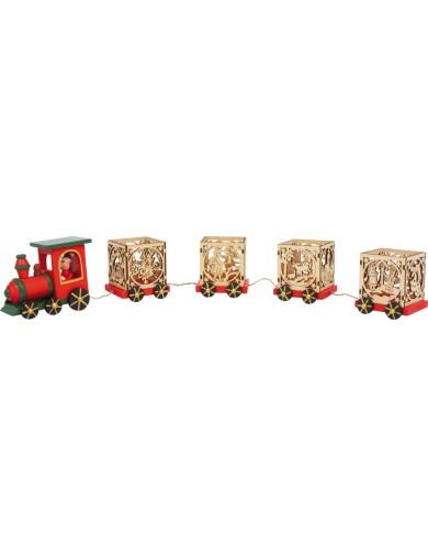 Tren decorativo Navideño con portavelas. Adornos Navideños. Decorative Train Christmas themes LEG 6894 Artículos Navideños
