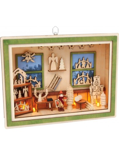 "Escena navideña con luz, ""Taller Navideño"". Lamp ""Xmas Manfactory"" LEG 6870 Artículos Navideños"