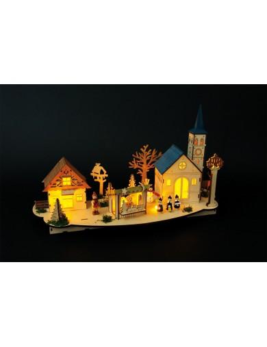 """Escena navideña con luz, """"Ciudad antigua"""". Christmas Decoration, Lamp """"Historic City"""" LEG 6452 Artículos Navideños"""