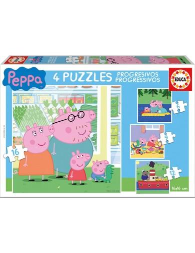 4 Puzzles Peppa Pig. 6+9+12+16 piezas 159181 Puzzles y Rompecabezas