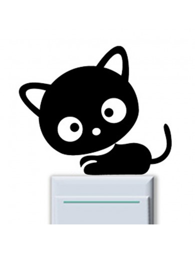 Vinilo Interruptor luz Gato negro. Light switch vinyl sticker decal bedroom Cat VINCAT Vinilos Decorativos, Stickers