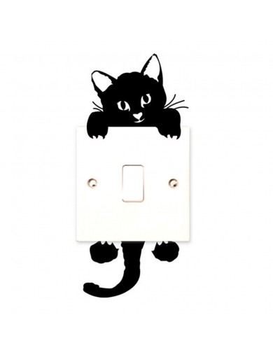 Vinilo Gato negro Interruptor luz. Light switch vinyl sticker decal bedroom Cat VINCAT2 Vinilos Decorativos, Stickers