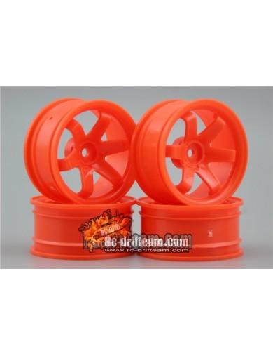 Juego 4 Llantas para Coches RC 1/10 Naranja 6mm OFFSET. Touring, Drift Wheel Rim KF10002