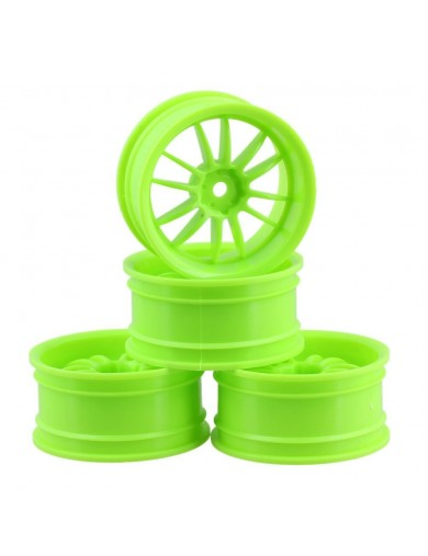 Juego 4 Llantas para Coches RC 1/10 Verdes 6mm OFFSET. Touring, Drift Wheel Rim KF10135