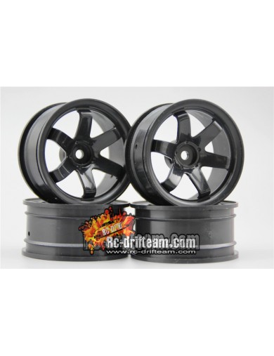 Juego 4 Llantas para Coches RC 1/10 26mm Negras 3mm OFFSET. Touring, Drift Wheel Rim KF10380