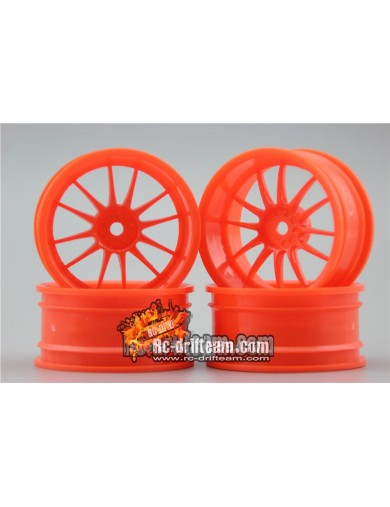 Juego 4 Llantas para Coches RC 1/10 26mm Naranjas 6mm OFFSET. Touring, Drift Wheel Rim KF10127