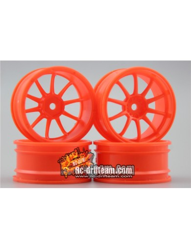 Juego 4 Llantas para Coches RC 1/10 26mm Naranjas 4mm OFFSET. Touring, Drift Wheel Rim KF10502