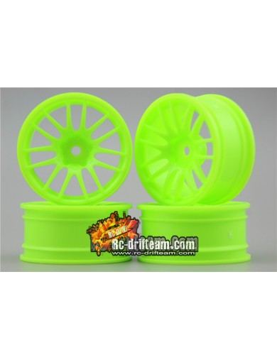 Juego 4 Llantas para Coches RC 1/10 Verdes 3mm OFFSET. Touring, Drift Wheel Rim KF10304