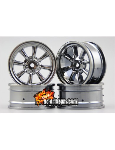 Juego 4 Llantas para Coches RC 1/10 26mm Cromadas 3mm OFFSET. Touring, Drift Wheel Rim KF10812