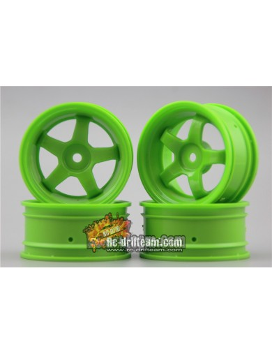 Juego 4 Llantas para Coches RC 1/10 26mm Verdes 3mm OFFSET. Touring, Drift Wheel Rim KF10430