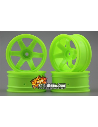 Juego 4 Llantas para Coches RC 1/10 26mm Verdes 6mm OFFSET. Touring, Drift Wheel Rim KF10004