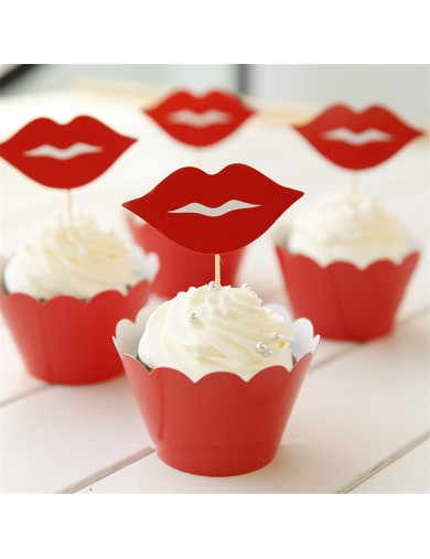 Decoración pasteles, cupcakes toppers Labios Rojos 12 uds. Birthday party TOPPLABIOS Decoración Fiestas