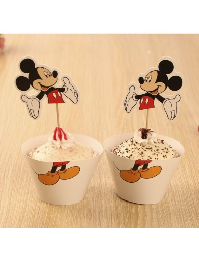 Decoración Pasteles, cupcakes toppers Mickey Mouse 12 uds. Birthday party TOPPMICKEY Decoración Fiestas