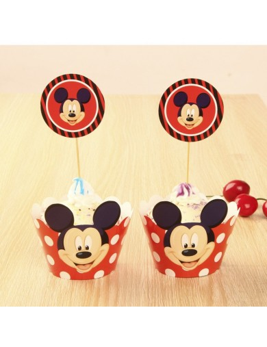 Mickey Mouse Decoración Pasteles cupcakes Toppers 12 ud. Birthday party TOPPMICKEY2 Decoración Fiestas