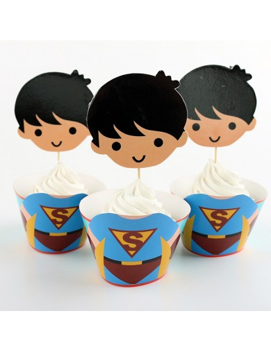 Superman Decoración Pasteles cupcakes Toppers 12 ud. Birthday party TOPPSUPERMAN Decoración Fiestas