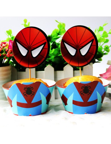 Spiderman Decoración Pasteles cupcakes Toppers 12 ud. Birthday party TOPPSPIDERMAN Decoración Fiestas
