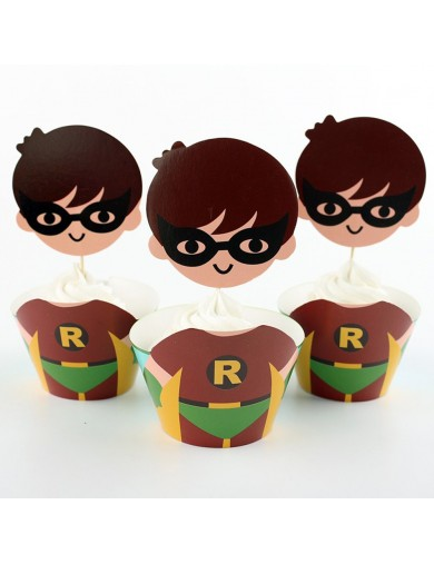 Robin Decoración Pasteles cupcakes Toppers 12 ud. Birthday party TOPPROBIN Decoración Fiestas
