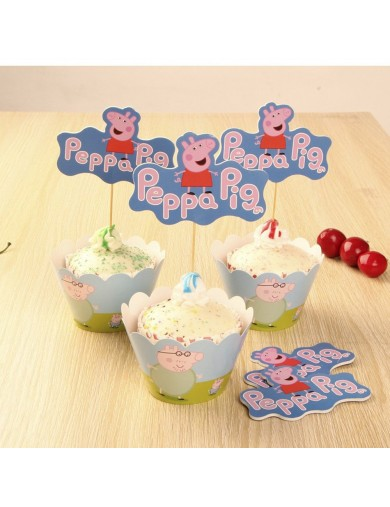 Decoración Pasteles, cupcakes toppers Peppa Pig 12 ud. Birthday party decoration TOPPEPPAPIG Decoración Fiestas