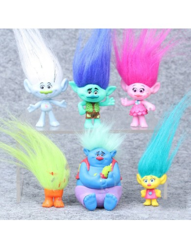 6 Figuras Trolls Dreamworks para decorar tartas, jugar. Figures Toy Cake Toppers LOTTROLLS1 Decoración Fiestas