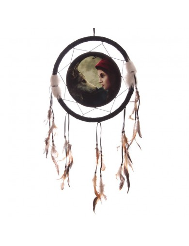 Atrapasueños 33cm Lobo con Caperucita Roja. Decorative Dreamcatcher Moon Struck DCPA02R Decoración Interior y Regalos