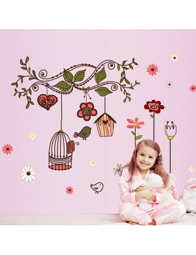 Vinilo Decorativo Pájaros. Flower Vine Birdcage Wall Stickers Vinyl Decal VINpaj Vinilos Decorativos, Stickers