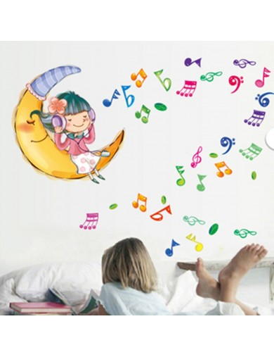 Vinilo Decorativo Niña en la Luna. Listen to the music in the moon Wall Stickers Vinyl Decal VINpaj Vinilos Decorativos, Stic...